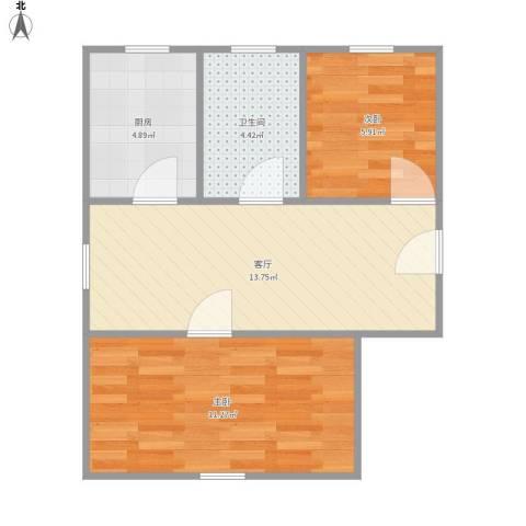 翔殷路505弄小区2室1厅1卫1厨43.81㎡户型图