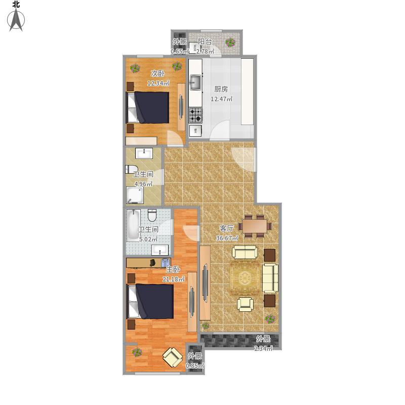 天鸿美域115平两居户型图