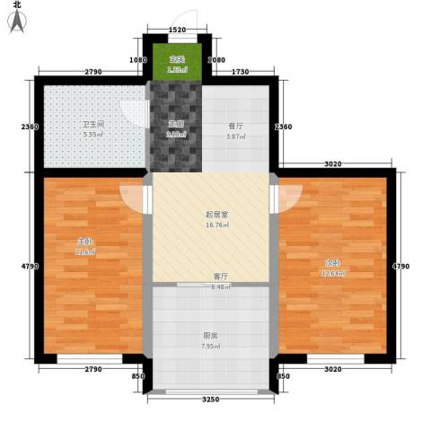 凯悦花园2室0厅1卫1厨62.00㎡户型图