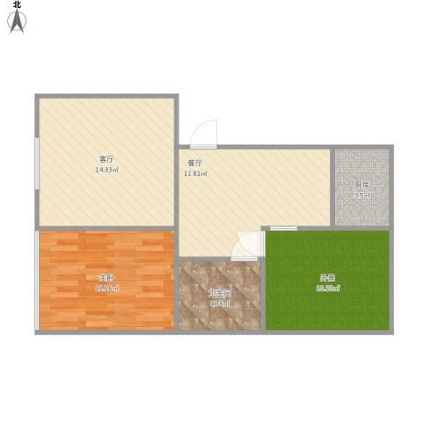 新锦虹北园1室2厅1卫1厨75.00㎡户型图