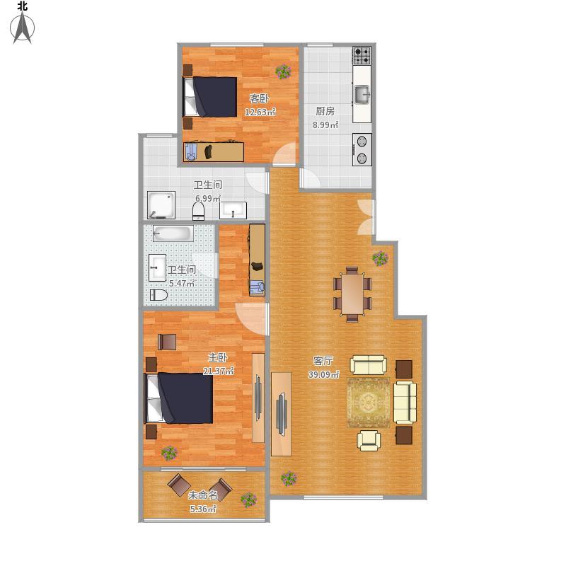 建邦枫景108㎡两居室