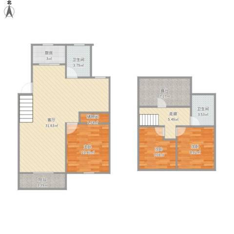 共富鑫鑫花园3室1厅2卫1厨116.00㎡户型图