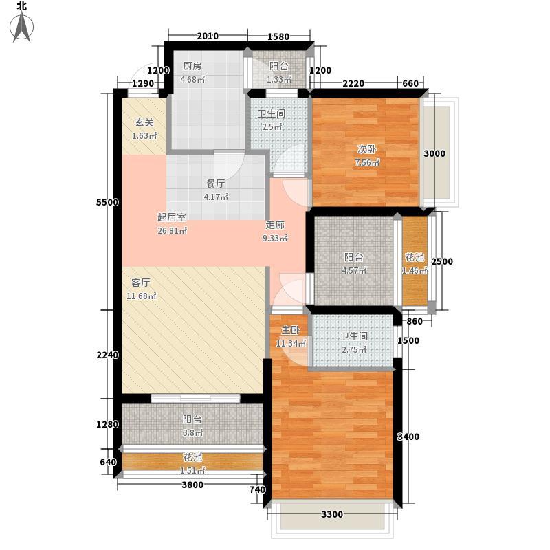 金色领域88.87㎡A栋标准层A1户型2室2厅