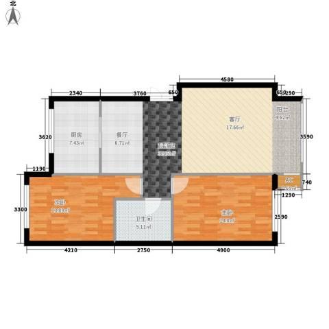 晨光国际花园2室0厅1卫1厨92.00㎡户型图