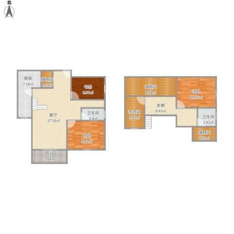 大运盛城四期3室1厅2卫1厨134.00㎡户型图