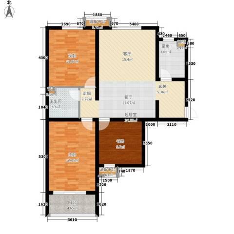 军城・港湾3室0厅1卫1厨104.00㎡户型图