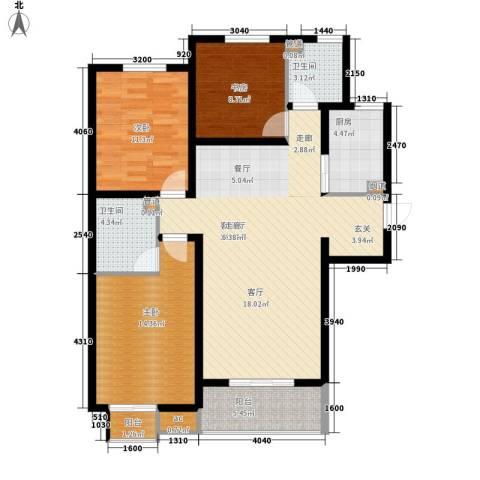 上城尔湾3室1厅2卫1厨129.00㎡户型图