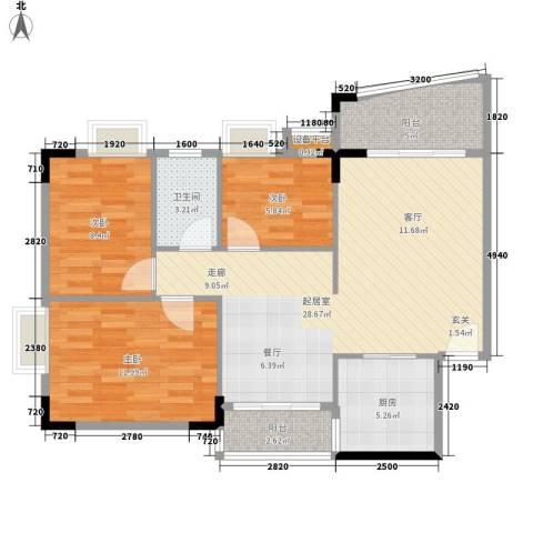 华南御景园3室0厅1卫1厨91.00㎡户型图