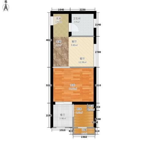 居易时代1室2厅1卫1厨40.00㎡户型图