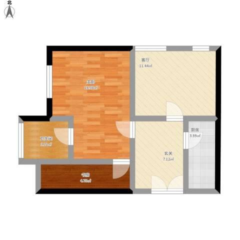 中国铁建・梧桐汇2室1厅1卫1厨70.00㎡户型图