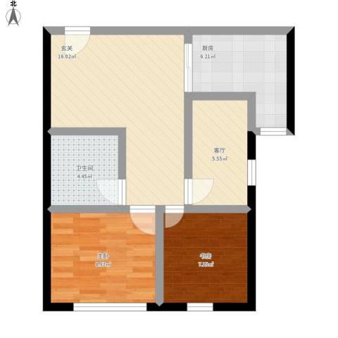 中国铁建・梧桐汇2室1厅1卫1厨72.00㎡户型图