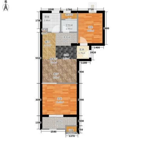 居易时代2室1厅1卫1厨58.00㎡户型图