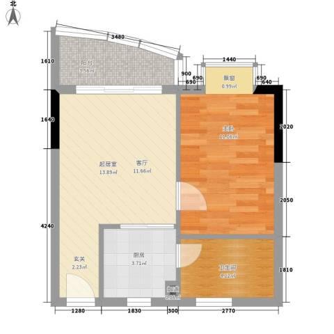 宏康东筑1室0厅1卫1厨43.00㎡户型图