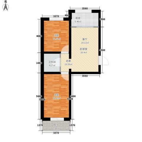 锦绣园2室0厅1卫1厨72.00㎡户型图