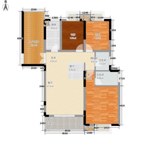 湖南报业文化城3室1厅2卫1厨142.00㎡户型图