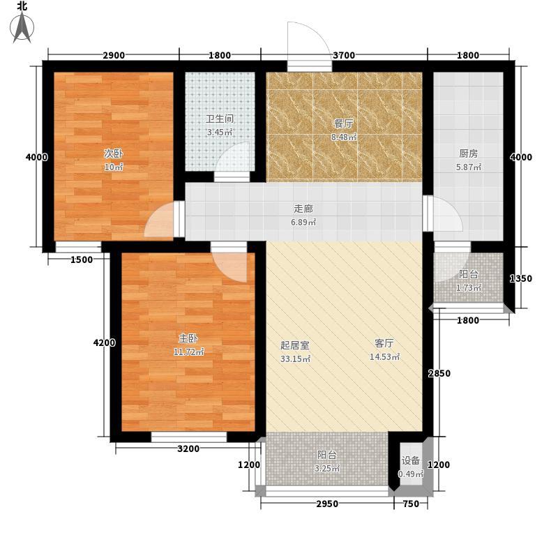 上林湾87.80㎡E2 户型2室2厅1卫