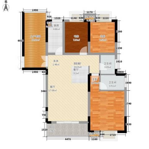 米地亚家园3室1厅2卫1厨139.00㎡户型图