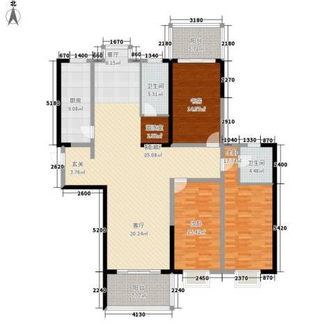 瑞凯・景城苑3室1厅2卫1厨140.10㎡户型图