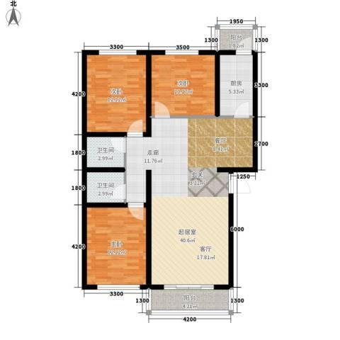 上林湾3室0厅2卫1厨118.00㎡户型图