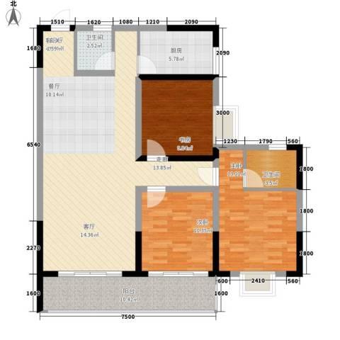 瑞凯・景城苑3室1厅2卫1厨127.00㎡户型图