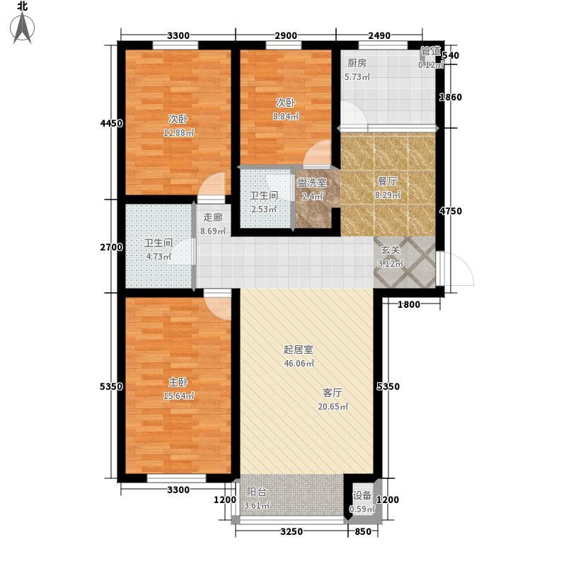 上林湾126.80㎡E1户型3室2厅2卫