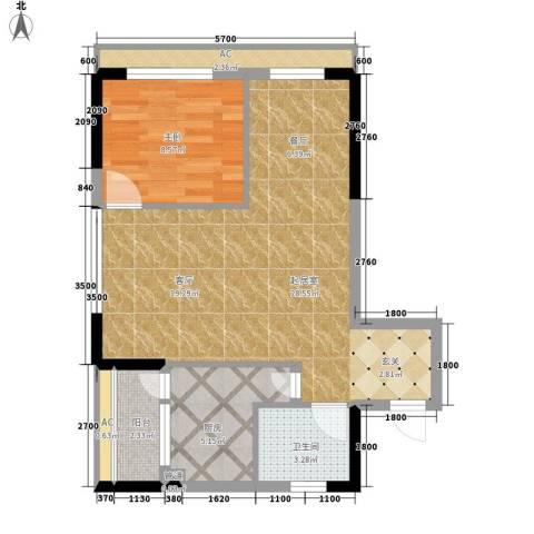平安摩卡城1室0厅1卫1厨73.00㎡户型图
