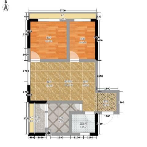 平安摩卡城2室0厅1卫1厨77.00㎡户型图