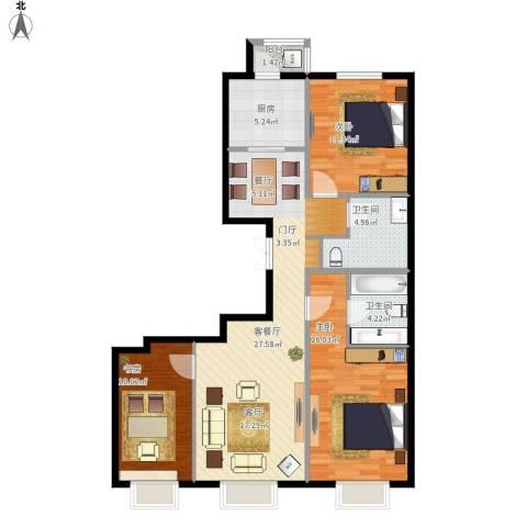 京投银泰 公园悦府3室1厅2卫1厨113.00㎡户型图