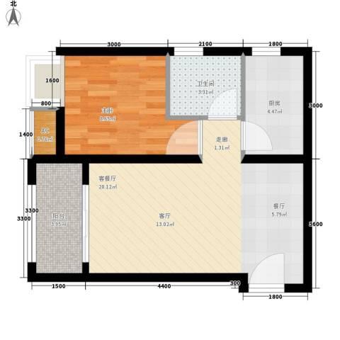 中环新天地1室1厅1卫1厨60.00㎡户型图