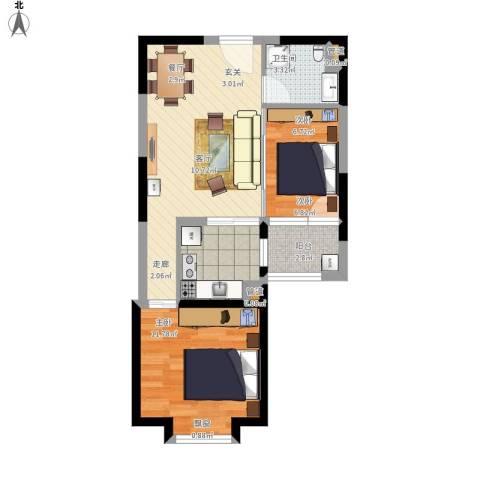 北辰红星国际广场2室1厅1卫1厨70.00㎡户型图