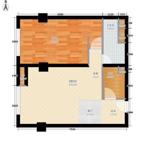 展轮新世界1室0厅1卫1厨72.00㎡户型图