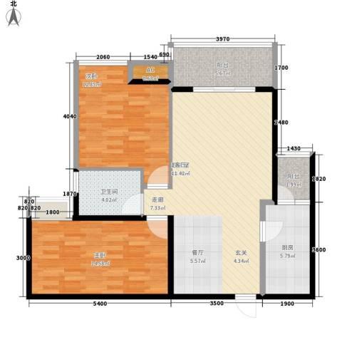 东和春天2室0厅1卫1厨77.00㎡户型图