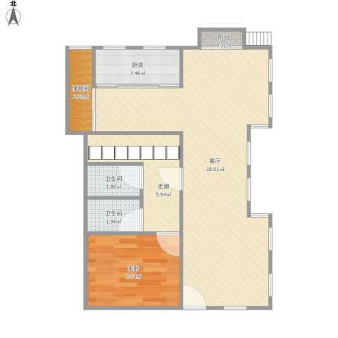 长泰西郊别墅1室1厅2卫1厨71.00㎡户型图