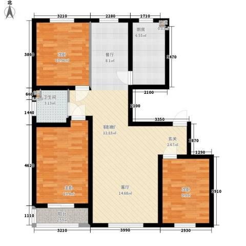 天山观澜豪庭3室1厅1卫1厨218.00㎡户型图