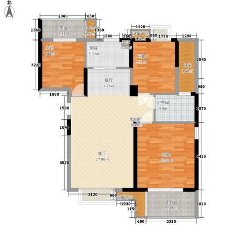 玫瑰园西村3室1厅1卫1厨127.00㎡户型图