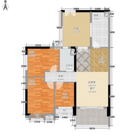 小北御景3室0厅1卫1厨106.00㎡户型图
