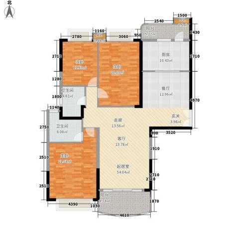 金碧世纪花园3室0厅2卫1厨159.00㎡户型图