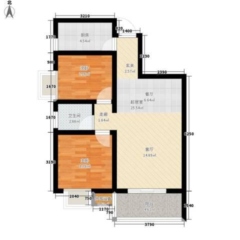 嘉园蓝湖九郡2室0厅1卫1厨77.00㎡户型图