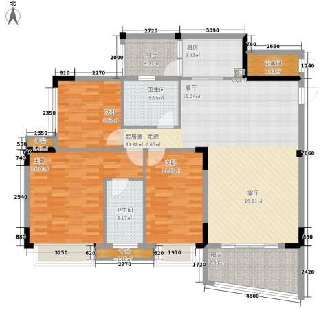 沁馥佳苑3室0厅2卫1厨123.00㎡户型图
