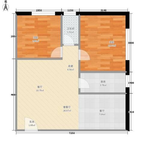东方都会广场2室1厅1卫1厨55.00㎡户型图