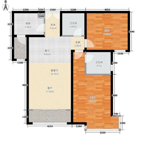 安民里小区2室1厅2卫1厨94.00㎡户型图