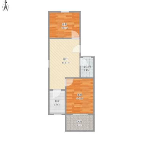 呼玛三村2室1厅1卫1厨55.00㎡户型图