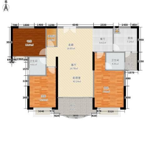 金碧世纪花园3室0厅2卫1厨129.00㎡户型图