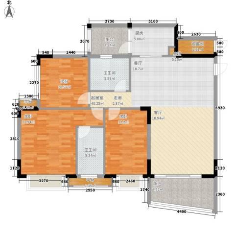 沁馥佳苑3室0厅2卫1厨125.00㎡户型图
