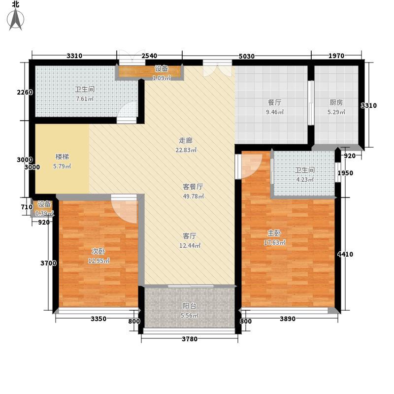 嘉悦景苑236.00㎡套房中间复式层一层平面户型5室2厅