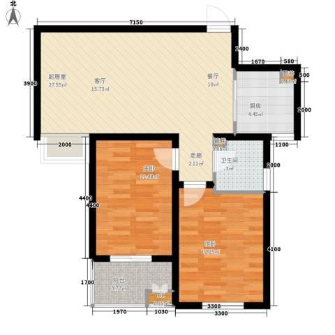 水木大兴2室0厅1卫1厨90.00㎡户型图