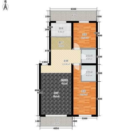 净馨家园2室0厅2卫1厨92.17㎡户型图