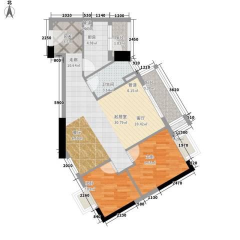 小北御景2室0厅1卫1厨81.00㎡户型图