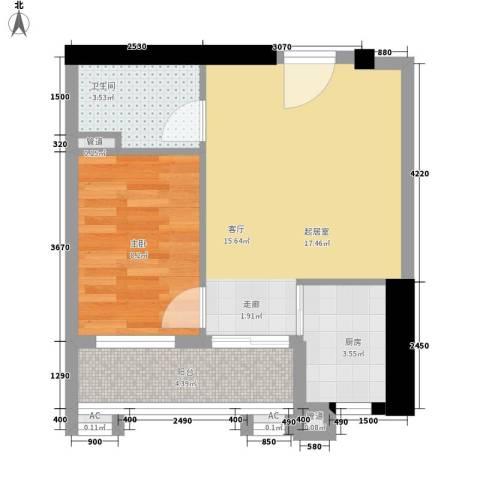 小北御景1室0厅1卫1厨45.00㎡户型图