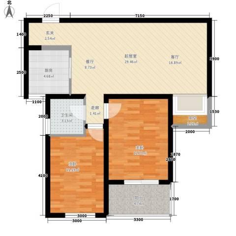 水木大兴2室0厅1卫1厨98.00㎡户型图